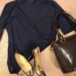 Charter Club Faux Wrap Top with Long Sleeves